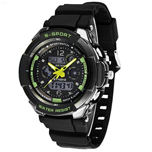 Maedchen Jugend Jungen Outdoor Sommer digital analog Wasser ResistantSports Uhren Jungen Uhren Schwimmen Armbanduhr Schwarz Gruen