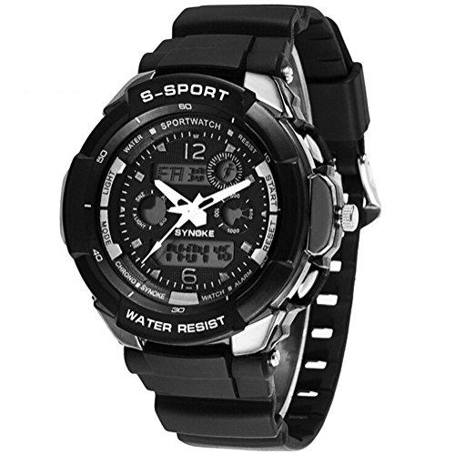 Maedchen Jugend Jungen Outdoor Sommer digital analog Wasser ResistantSports Uhren Jungen Uhren Schwimmen Armbanduhr Schwarz Weiss