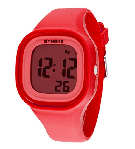 Jungen Maedchen Sommer Jelly Digital LED Display Armbanduhr Outdoor wasserdichte Sport Uhren rot