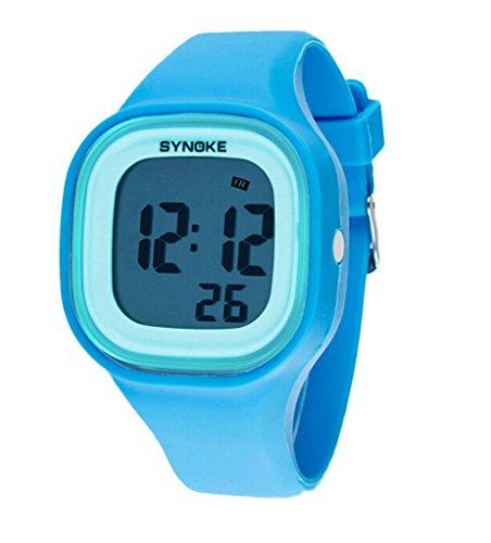 Jungen Maedchen Sommer Jelly Digital LED Display Armbanduhr Outdoor wasserdichte Sport Uhren blau