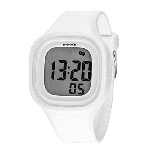 Jungen Maedchen Sommer Jelly Digital LED Display Armbanduhr Outdoor wasserdichte Sport Uhren weiss