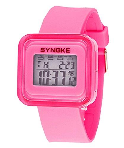 Jungen Maedchen wasserdichten Rueckseite Jelly Colorful Digital Electronic Sport Uhren Pink