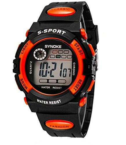 Jungen Maedchen Sommer Multi Funktion Outdoor Wasserdicht Digital Sport Uhren elektronische Handgelenk Uhren fuer Alter 5 13 Jahren orange