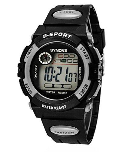 Jungen Maedchen Sommer Multi Funktion Outdoor Wasserdicht Digital Sport Uhren elektronische Handgelenk Uhren fuer Alter 5 13 Jahren grau