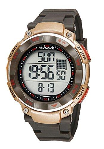 Herren Jugend Outdoor Big Ziffernblatt Wasserdicht Sportuhr Digital Handgelenk Uhren Gold