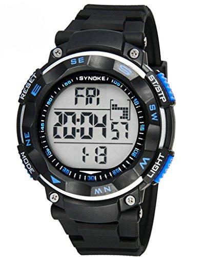 Herren Jugend Outdoor Big Ziffernblatt Wasserdicht Sportuhr Digital Handgelenk Uhren schwarz blau