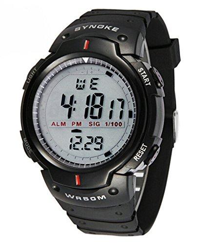 Herren Schlichtes Design Digitales LED Display Grosse Ziffern wasserdicht Casual Armbanduhr Sport Outdoor Uhren schwarz