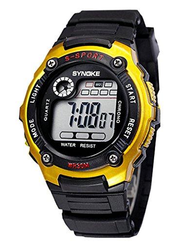 Wasserabweisend Digitale Elektronische Military Outdoor Handgelenk Sport Uhr fuer Alter 7 15 Jahre Old Gold