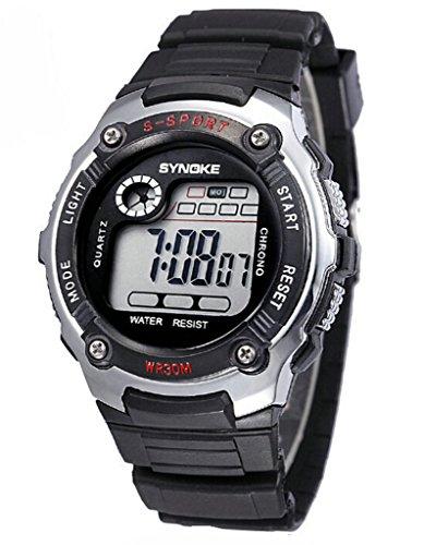 Wasserabweisend Digitale Elektronische Military Outdoor Handgelenk Sport Uhr fuer Alter 7 15 Jahre alt silber
