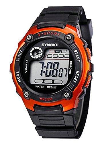 Wasserabweisend Digitale Elektronische Military Outdoor Handgelenk Sport Uhr fuer Alter 7 15 Jahre alt orange