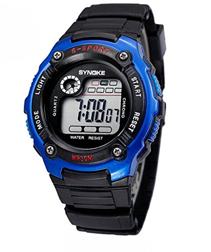 Wasserabweisend Digitale Elektronische Military Outdoor Handgelenk Sport Uhr fuer Alter 7 15 Jahre alt Blau