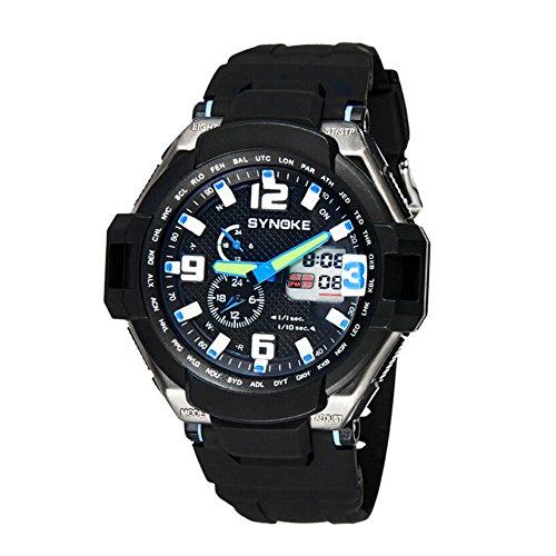 Wasserdicht Sport Uhren Herren Badehose vielseitig schwarz Rubber Strap Outdoor Kunstharz Armbanduhr Schwarz Blau