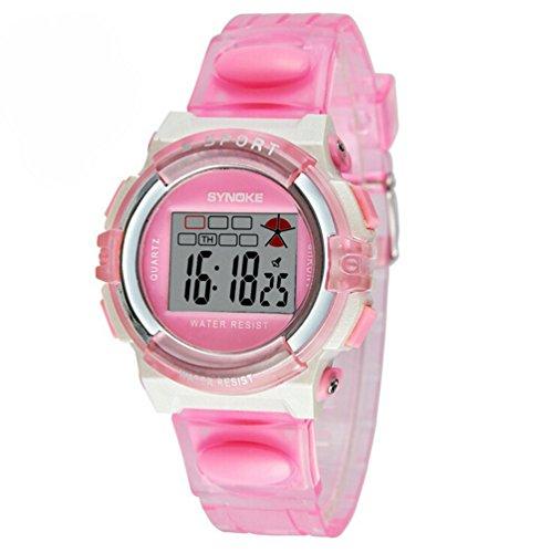 Wasserdicht Digital Outdoor Sport Uhren fuer Alter 5 15 Jahren Jungen Maedchen Kinder Uhren Pink
