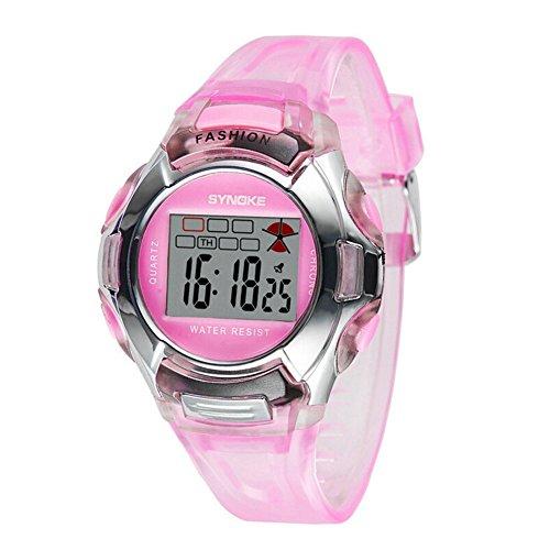 Wasserdicht Multi Funktion Digital Kinder Outdoor Sport Uhren fuer 5 10 Jahren Jungen Maedchen pink