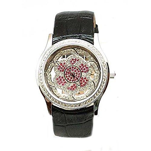 Exposed Time Schwarze Blumen Leder Uhr mit echten Swarovski Kristallen