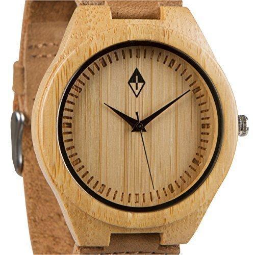 Holzmaserung Bambus Holz Armbanduhr mit echtem Braun Kuh Lederband Quarz Analog Casual Holz Uhren
