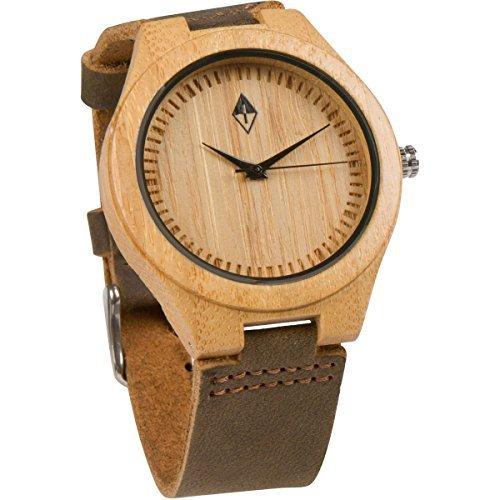 Holzmaserung handgefertigt Herren Bambus natur Holz Uhr mit echtem Leder braun Band