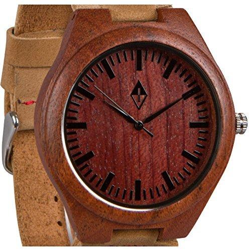 Holzmaserung handgefertigt Herren Rot Sandelholz natur Holz Uhr mit echtem Leder braun Band