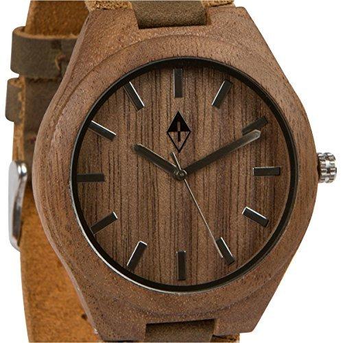 Holzmaserung handgefertigt Herren Walnuss Holz natur Holz Uhr mit echtem Leder braun Band