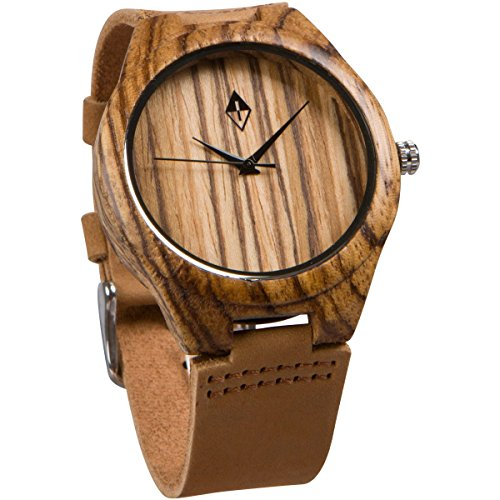 Holzmaserung handgefertigt Herren Zebra Holz natur Holz Uhr mit echtem Leder braun Band