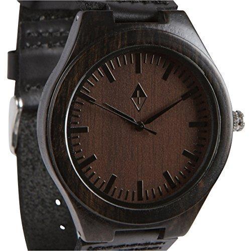 Holzmaserung handgefertigt Herren Schwarz Sandelholz natur Holz Armbanduhr Echter braun Leder Band
