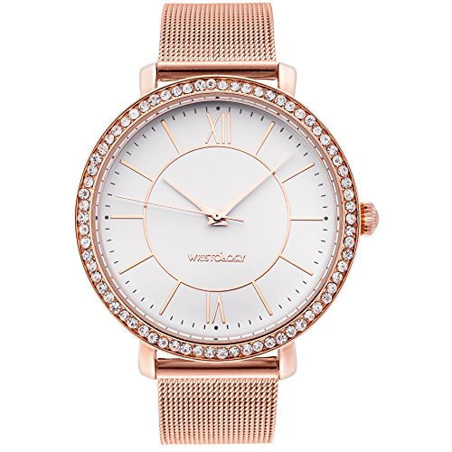 wristology Bridget Damen Super Chunky Rose Gold Freund Metall Mesh Armbanduhr