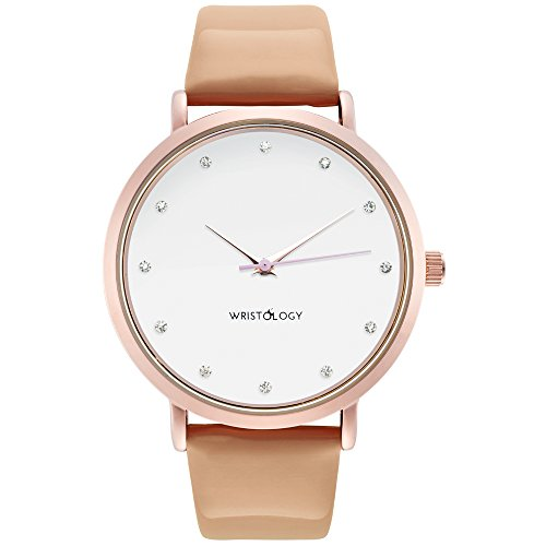wristology Olivia Damen Crystal Rose Gold Freund Tan Sand Patent Lederband