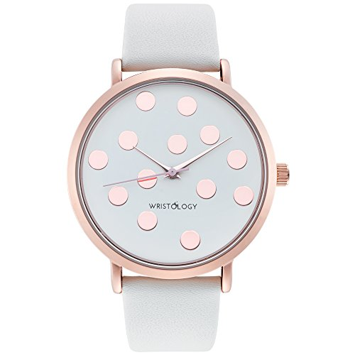 wristology Olivia Damen Polka Dot Rose Gold Boyfriend weiss Lederband