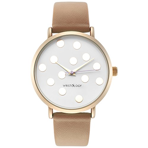 wristology Olivia Damen Polka Dot Gold Freund Sand Beige Lederband