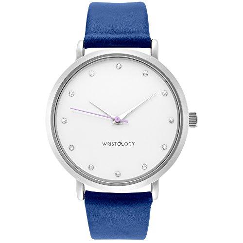 wristology Olivia Damen geschoben Silber Freund Armbanduhr Cobalt Blau Lederband
