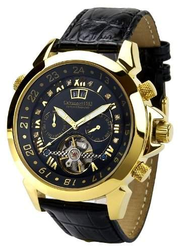 Calvaneo 1583 Astonia Black DIAMOND Gelbgold Luxury Automatikuhr