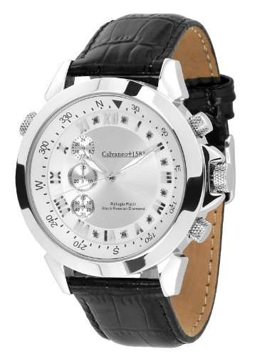Calvaneo 1583 Refugio Platin Black Russian Diamond Diamant Chronograph