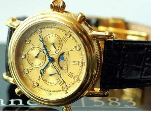 Calvaneo 1583 Estemia Gold real Diamond Chronograph Swiss Ronda