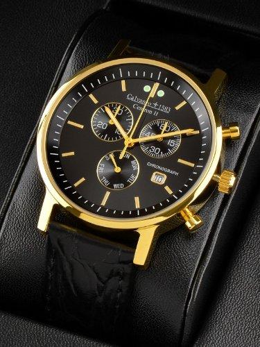 Calvaneo 1583 Centron II Gold Black Slim Chronograph vergoldet