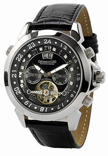 Calvaneo 1583 Astonia Black DIAMOND Steel Analog Automatik Leder schwarz 10304