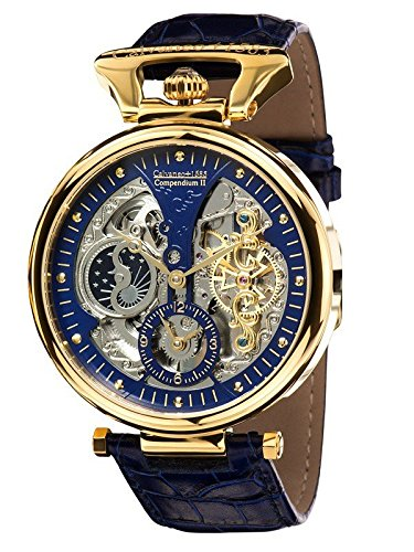 Calvaneo 1583 Compendium Gold Blue High Luxury Squelette Automatikuhr