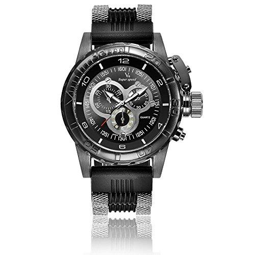 V6 3D Oberflaeche Fall Luxus Stecker Military Casual Armbanduhr Uhr die schwarz