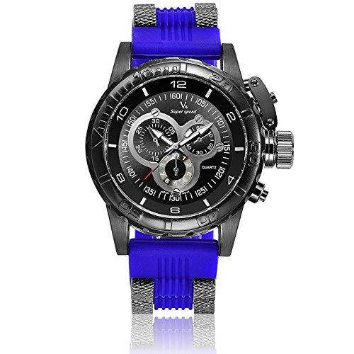 V6 3D Oberflaeche Fall Luxus Stecker Military Casual Armbanduhr Uhr die blau
