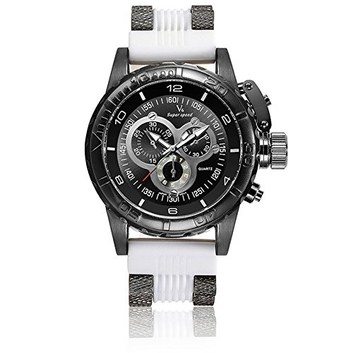 V6 3D Oberflaeche Fall Luxus Stecker Military Casual Armbanduhr Uhr die weiss