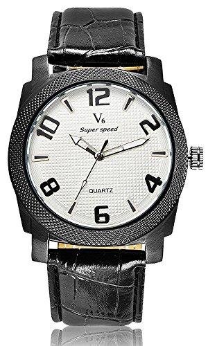 Fashion New Arrival stilvoller Luxus Marken Uhren Business Herren V6 Einfache und elegante Armbanduhren Leder weiss
