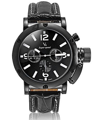Fashion New Arrival Leder Guertel stilvoller Luxus Marken Uhren Business Herren V6 Einfache und elegante Armbanduhren Weiss
