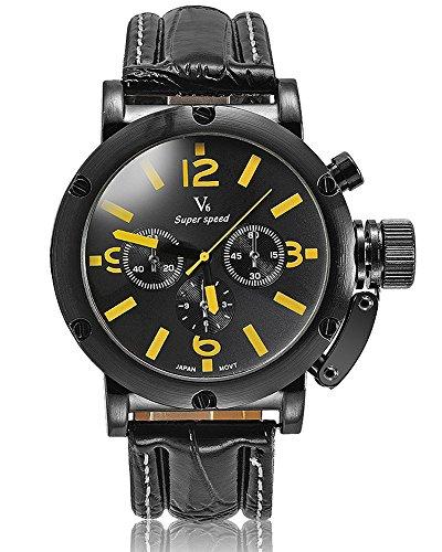 Fashion New Arrival Leder Guertel stilvoller Luxus Marken Uhren Business Herren V6 Einfache und elegante Armbanduhren gelb