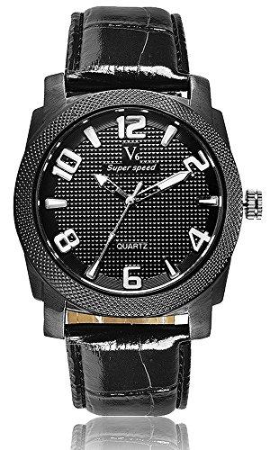Fashion New Arrival stilvoller Luxus Marken Uhren Business Herren V6 Einfache und elegante Armbanduhren Leder schwarz