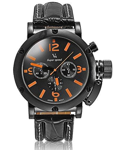 Fashion New Arrival Leder Guertel stilvoller Luxus Marken Uhren Business Herren V6 Einfache und elegante Armbanduhren Orange