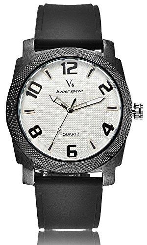 Fashion New Arrival stilvoller Luxus Marken Uhren Business Herren V6 Einfache und elegante Armbanduhren PU weiss