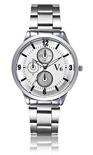 V6 LUXUS Marke Armbanduhr Fashion Frauen Leder Quarz Armbanduhr Damen Uhren Full Stahl Armbanduhr Weiss