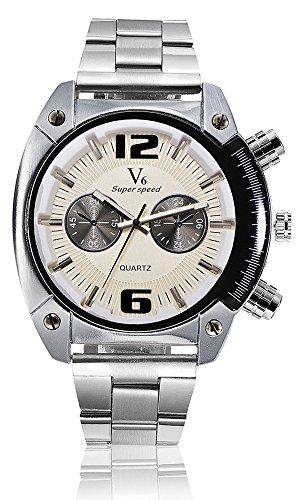 V6 Marke Herren Military Armbanduhr Fashion Herren Quarz verstellbar Herren Sport Uhren Full Stahl Herren Armbanduhr Casual reloj weiss