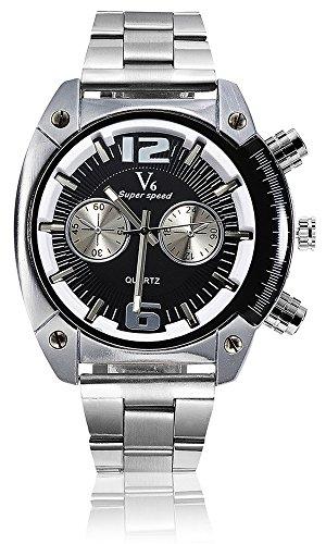 V6 Marke Herren Military Armbanduhr Fashion Herren Quarz verstellbar Herren Sport Uhren Full Stahl Herren Armbanduhr Casual reloj schwarz