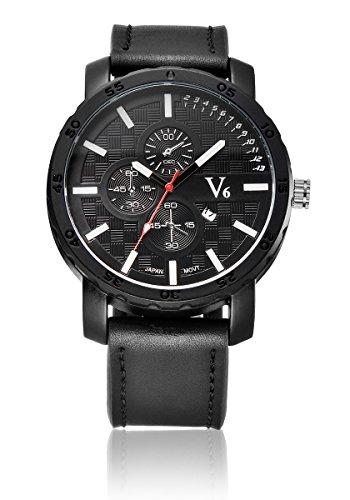 V6 New Arrival Sport Armbanduhr Luxus echt Leder Band Weiss