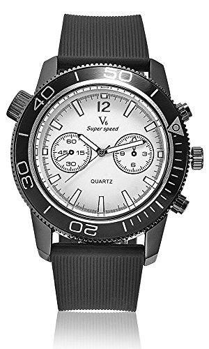 Vogue Fashion V6 LUXUS schwarz Stecker Stunde Uhr Analog Military Mann Business Casual Armbanduhr reloj Geschenk Weiss